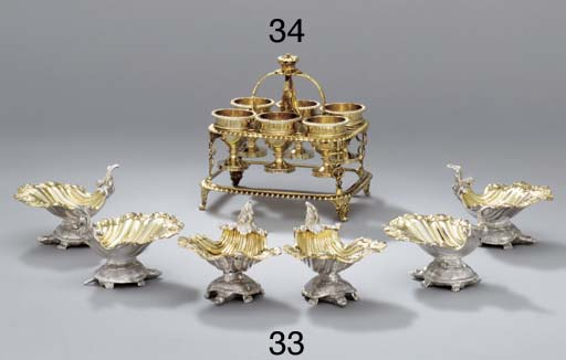 Six George III silver salt-cel