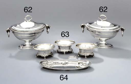 Three George III silver salt-c