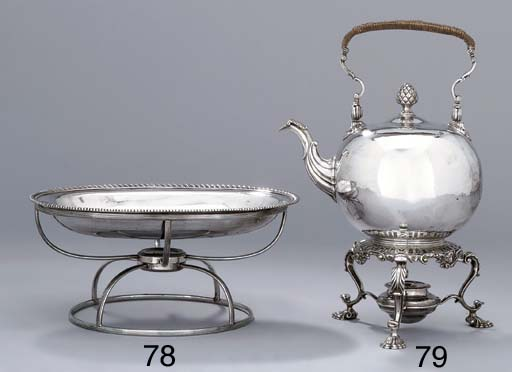 A George II silver kettle and