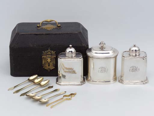 Two silver tea-caddies and a s