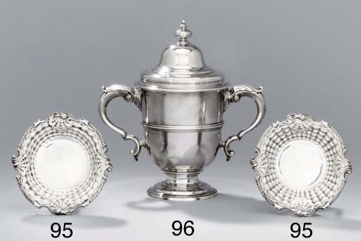 A pair of George II silver dis