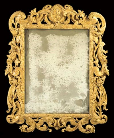 A GERMAN GILTWOOD MIRROR