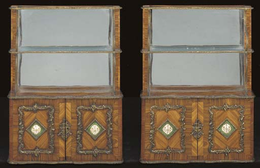 A PAIR OF EARLY VICTORIAN  ORMOLU AND PORCELAIN-MOUNTED KINGWOOD AND TULIPWOOD HANGING SHELVES