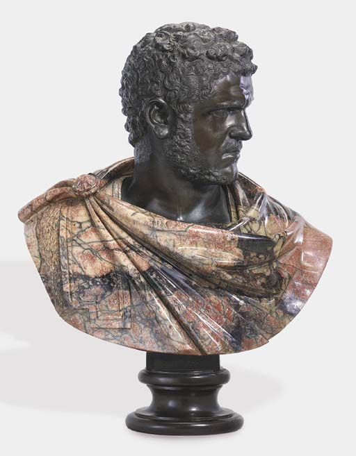 A BRONZE AND MARBLE BUST OF TH