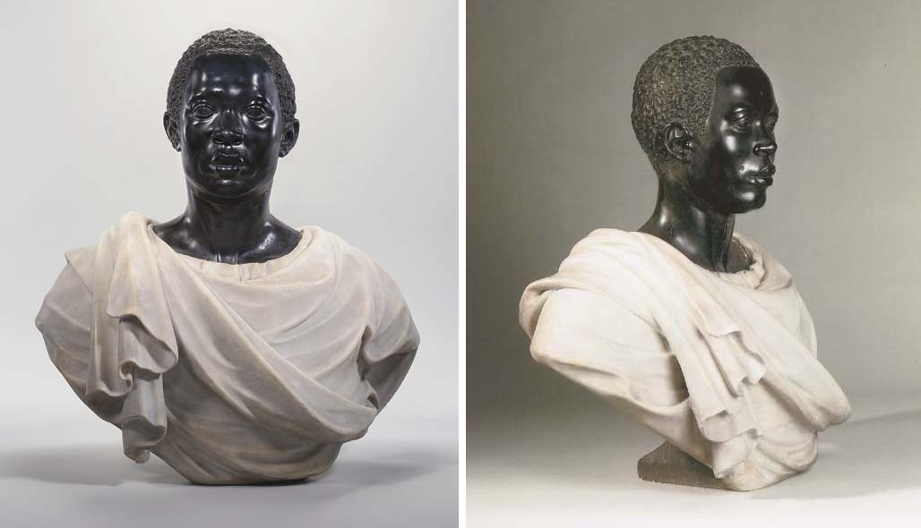 A Black And White Marble Bust Of A Moor Circle Of