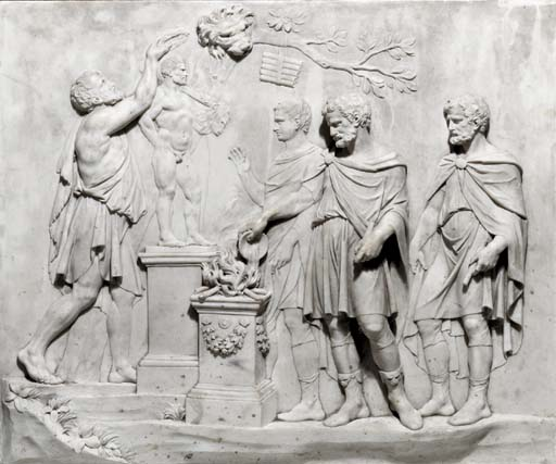 A RECTANGULAR CARVED MARBLE RELIEF DEPICTING AN OFFERING TO HERCULES