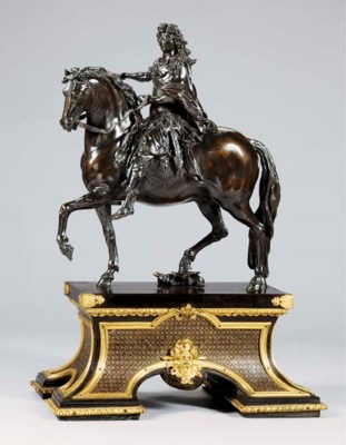 A BRONZE EQUESTRIAN GROUP OF L