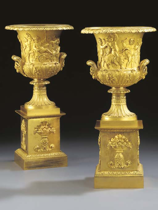A PAIR OF EMPIRE ORMOLU TWO-HA