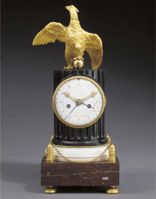 A SWEDISH ORMOLU-MOUNTED BLACK, WHITE AND ROUGE GRIOTTE MARBLE MANTLE CLOCK