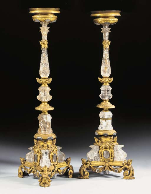 A PAIR OF ROCK CRYSTAL AND GILT-COPPER CANDLESTICKS