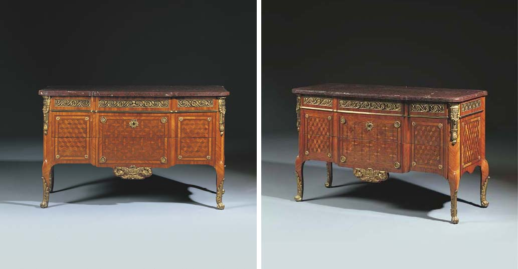 A PAIR OF LATE LOUIS XV ORMOLU-MOUNTED KINGWOOD AND TULIPWOOD PARQUETRY COMMODES