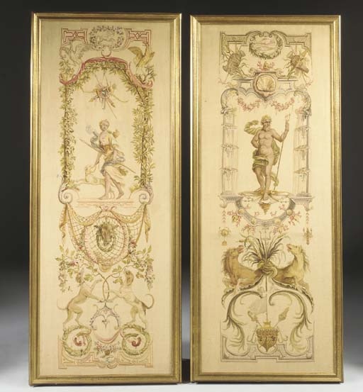 A PAIR OF GOBELINS TAPESTRY PANELS FROM 'LES DOUZE MOIS GROTHESQUES'