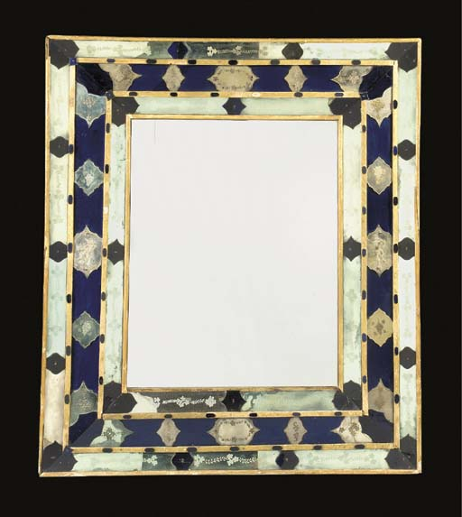 A VENETIAN BLUE AND ENGRAVED-GLASS MIRROR