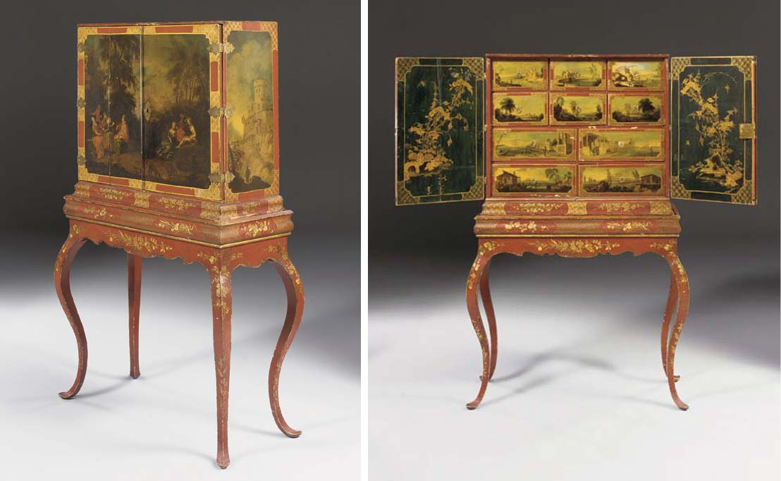 A GERMAN RED AND GILT-JAPANNED CABINET-ON-STAND