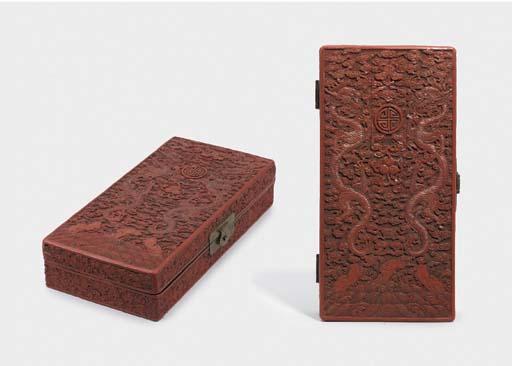 A RARE RED LACQUER BRUSH BOX A