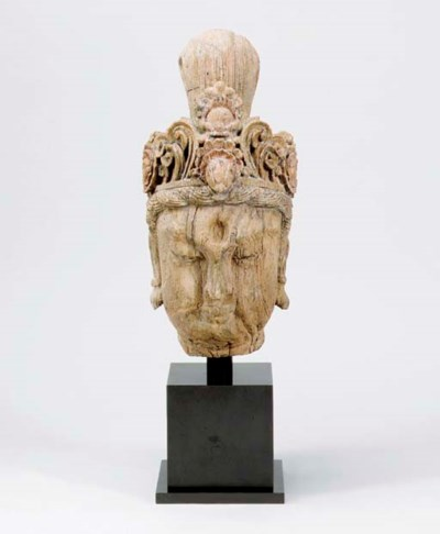 A LARGE WOOD HEAD OF GUANYIN