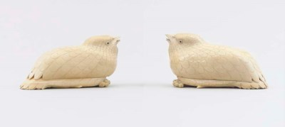 A PAIR OF IVORY QUAIL BOXES AN