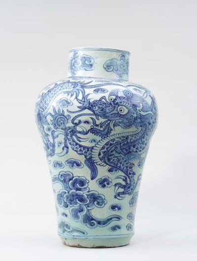 A KOREAN BLUE AND WHITE 'DRAGO