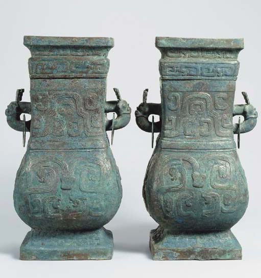 A FINE PAIR OF BRONZE VESSELS