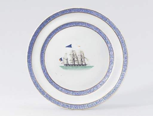 A RARE EXPORT 'SHIP' PLATE FOR