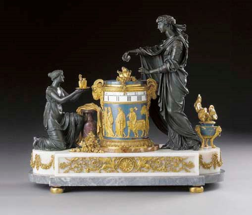 A Louis XVI ormolu, enamel, bronze, Sicilian jasper and marble mantel clock, attributed to Pierre-Philippe Thomire. 23  in (58.5  cm) high; 25½ in (65 cm) wide. Sold for £160,650 on 13-14 June 2002 at Christie's in London