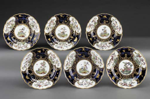 Six Chelsea blue-ground plates