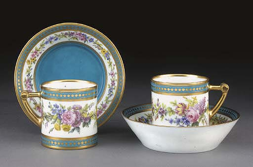 A pair of Sevres bleu celeste-