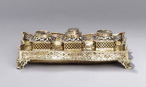 A George II silver-gilt inksta