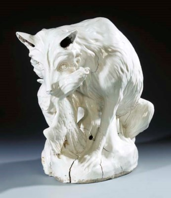 A Meissen white model of a fox