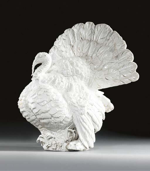 A Meissen white model of turke