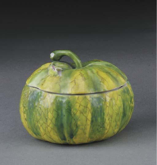 A Longton Hall melon-box, four