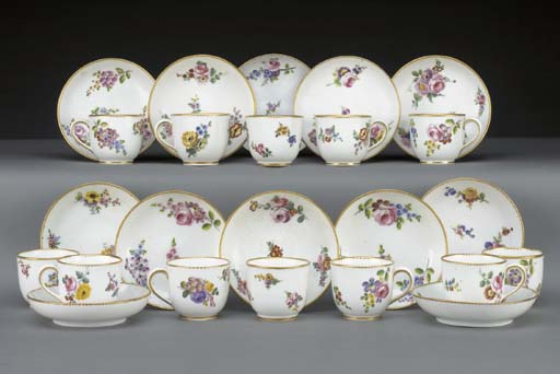 Twelve Sevres coffee-cups and
