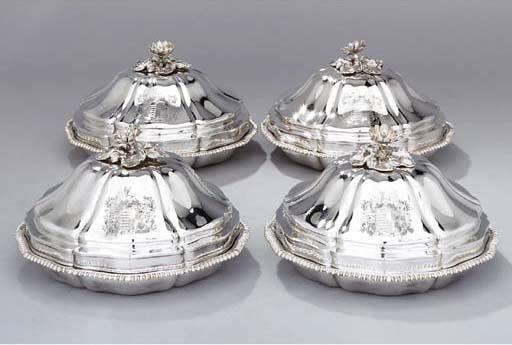 Four Victorian silver entrée-d