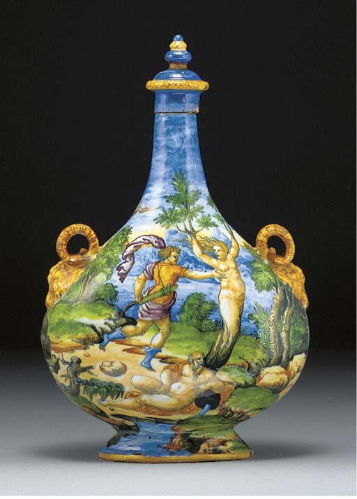 An Urbino istoriato pilgrim-flask and cover