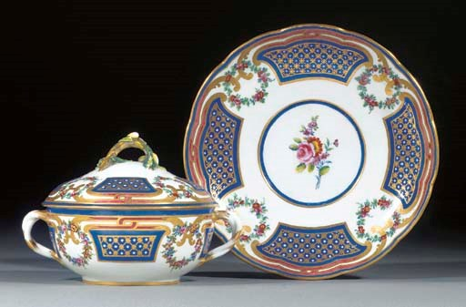 A Sevres circular two-handled