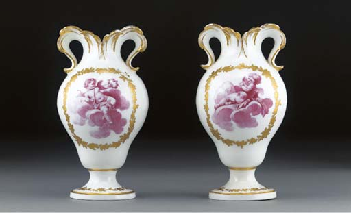 A pair of Sevres vases a oreil