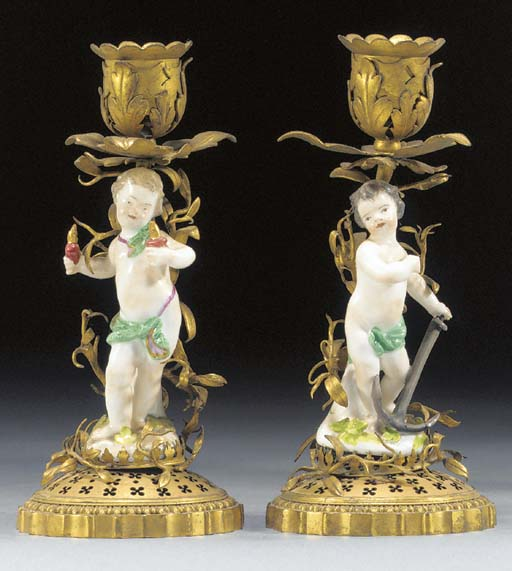 A pair of Meissen ormolu-mount