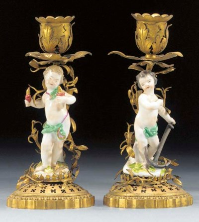 A pair of Meissen ormolu-mount