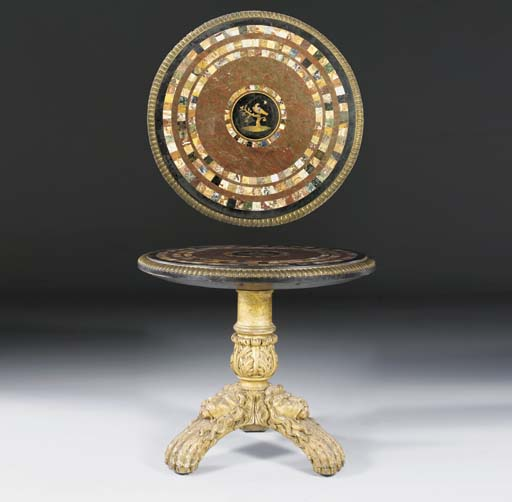 A GEORGE IV ORMOLU-MOUNTED GILTWOOD AND SPECIMEN MARBLE CENTRE TABLE