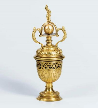A gilt-metal striking urn cloc