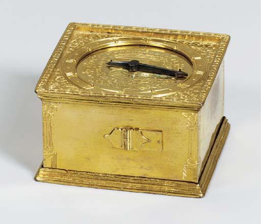 A French gilt-metal square tab