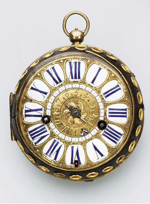 A FRENCH GILT-METAL AND LEATHE