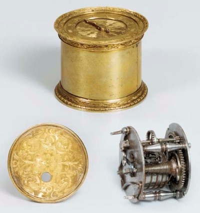 A French brass small tambour t