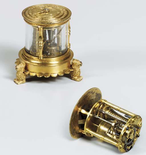 A German gilt-metal and rock crystal small table timepiece