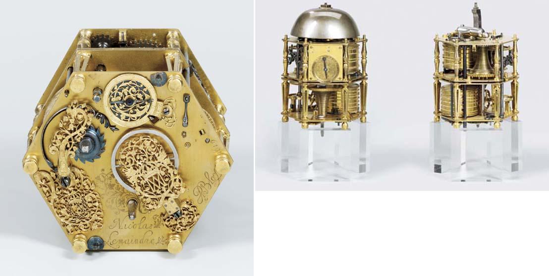 A gilt-metal striking hexagona