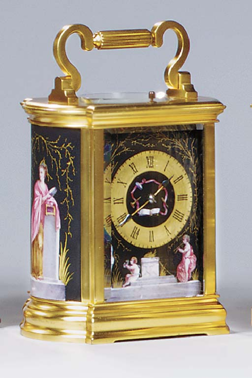 A French gilt-brass and porcelain-mounted striking and repeating carriage clock