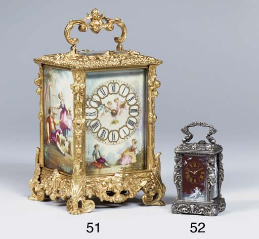 A French silvered bronze and Limoges enamel mounted mignonnette carriage timepiece