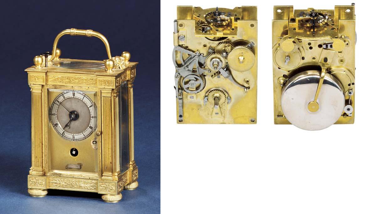 An Empire ormolu quarter repeating carriage timepiece with alarm