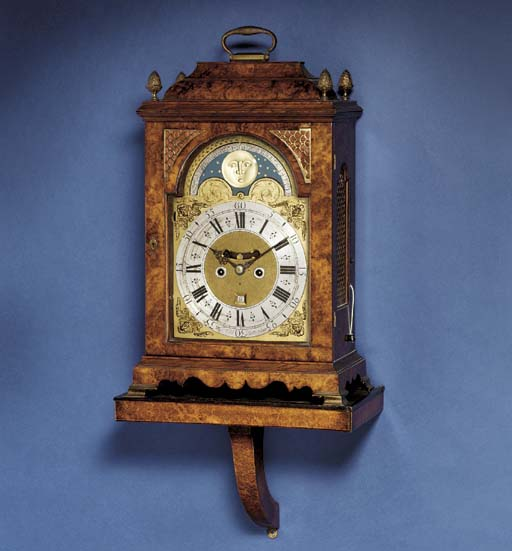 A Dutch gilt-brass mounted walnut striking bracket clock with moonphase and pull quarter repeat, on wall bracket