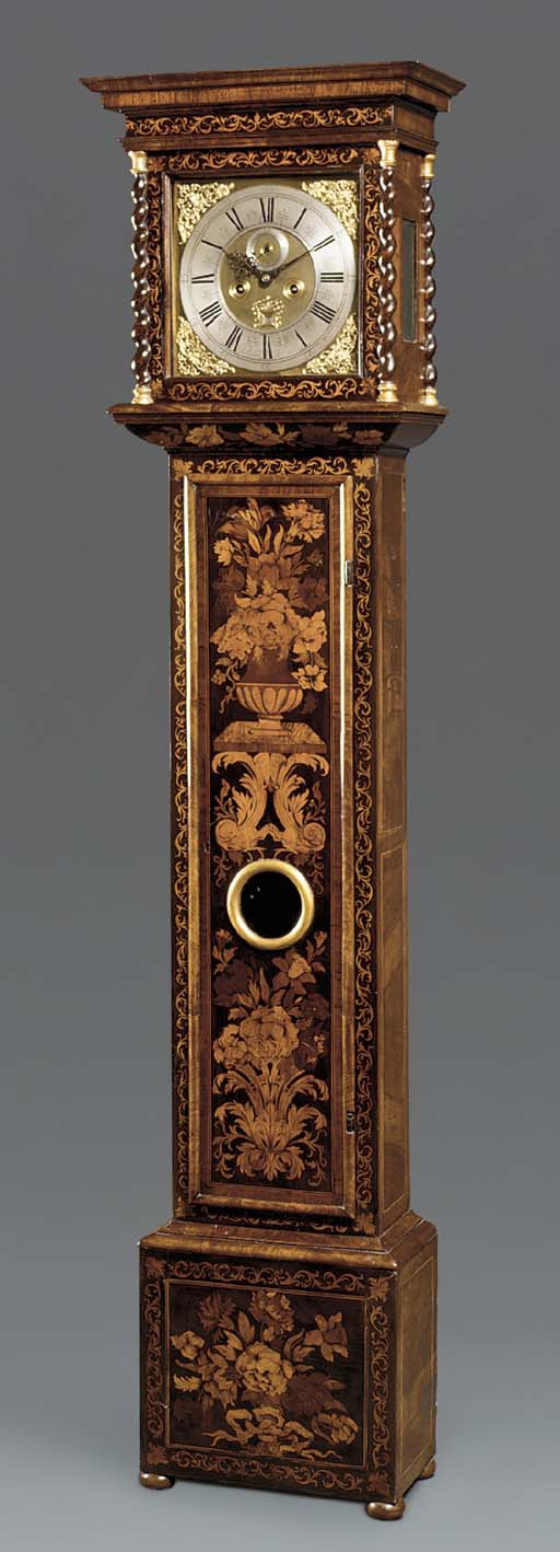 A William III walnut and floral marquetry longcase clock